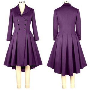 Jackets & Blazers - Plus Size Pin Up Clothing Long Coat Jacket Purple